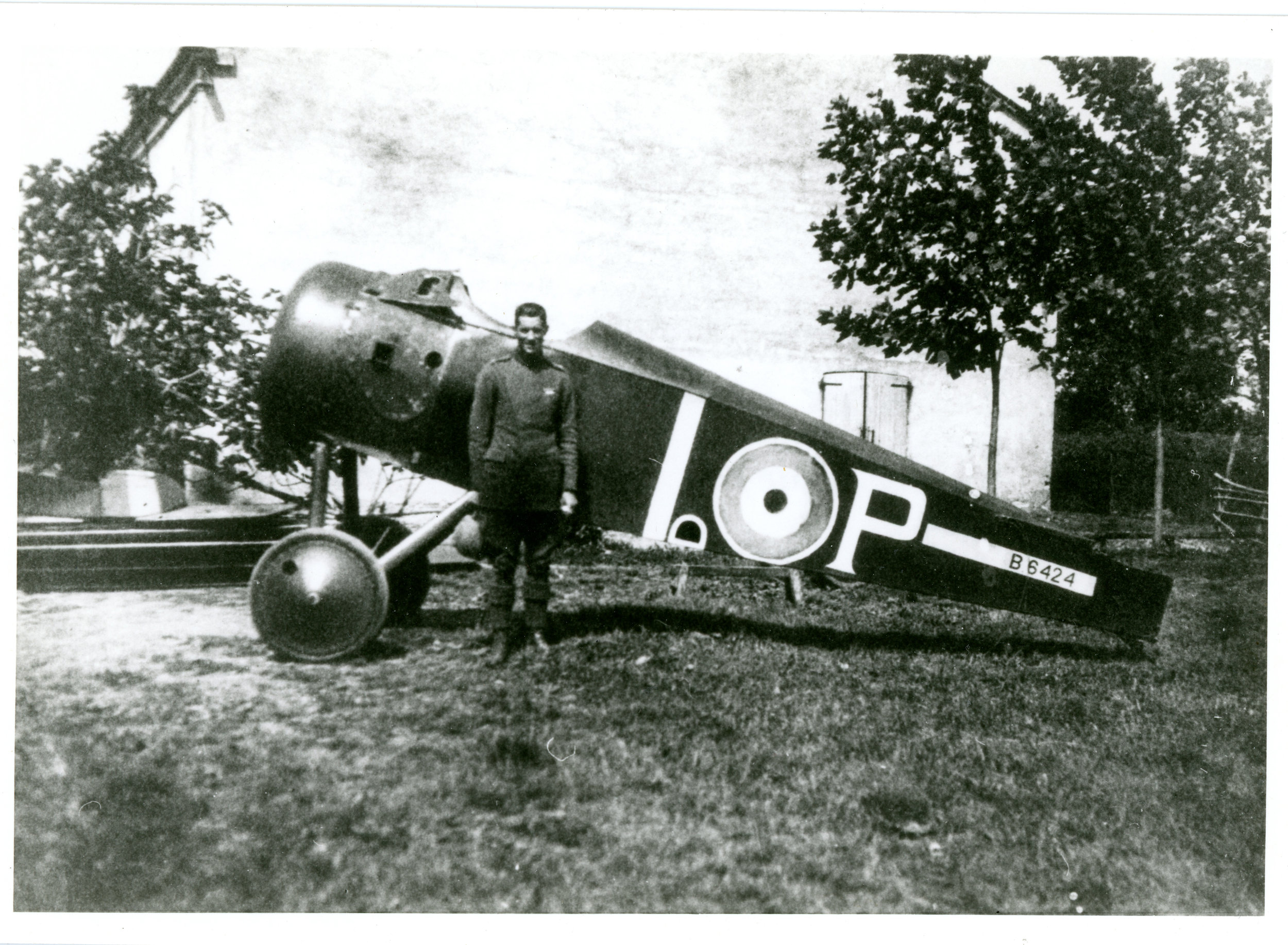 Newly arrived in San Pietro in Gu and yet to be assembled, Sopwith-built Camel B6424 was flown by Birks (standing before it) to score five victories from March to May 1918, including Austro-Hungarian aces Karl Patzelt (5 victories, pictured at left) and József Kiss (19). (gerald birks via jon guttman)