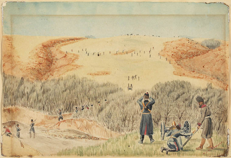 Wadmore R. Lyndhurst depicted a rather more accurate version of the less-than-tidy Battle of Cut Knife Hill. (library and archives canada, icon   98677  )