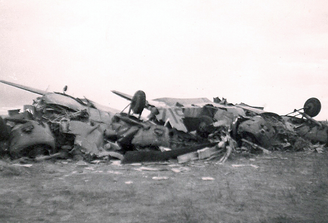 The remains of Dakota 962 are strewn across the field at the Estevan Airport. At 1020 hrs on September 26, 1946, while on final approach, the Douglas C-47 (DC-3) stalled and crashed a few hundred yards short of the runway. The aircraft was destroyed by impact forces and all 21 occupants were killed. All passengers were returning to Estevan after delivering Fairchild PT-19 Cornell planes to the U.S. Air Force Base in Minot, North Dakota.