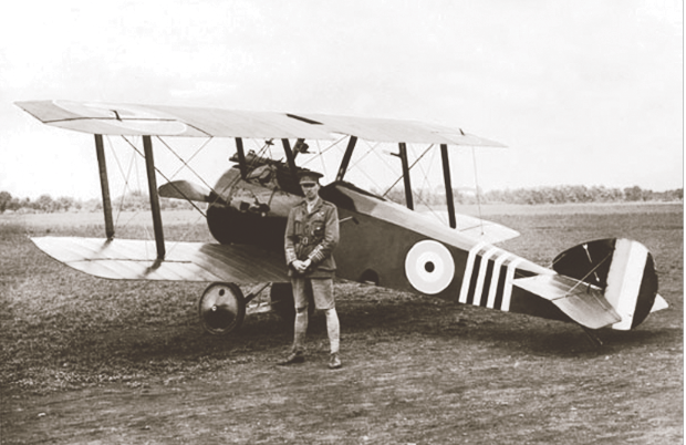 LCol William Barker VC, Canada's most decorated service member, poses beside Sopwith Camel B6313, which underwent several changes in markings and configurations in the course of its long career as Barker's mount in Nos. 28, 66 and 139 Squadrons.