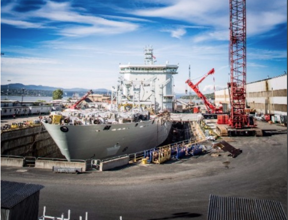 The Resolve-class MV Asterix was official unveiled on July 20, 2017 at the Chantier Davie shipyard. Once the auxiliary oiler replenishment ship enters service with the Royal Canadian Navy at the end of 2017, she will be the country's largest naval platform for the foreseeable future. (Chantier Davie)