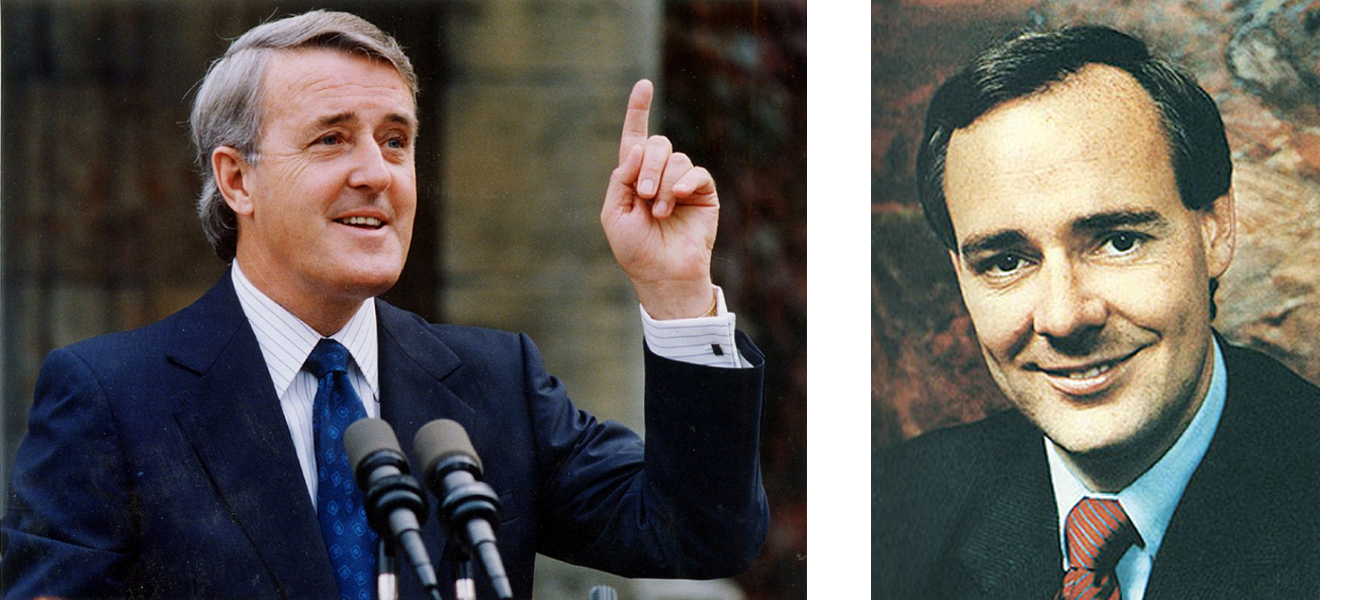 (Left) Brian Mulroney served as Canada's 18th prime minister after winning the largest landslide majority government (by total number of seats) in Canadian history against John Turner in 1984. (alchetron)    (Right)  During Perrin Beatty's 20-year career as an elected politician, he held numerous cabinet posts. As Minister of National Defence from 1986 1989, he was a strong proponent of the 1987 Defence White Paper. (cmj collection)
