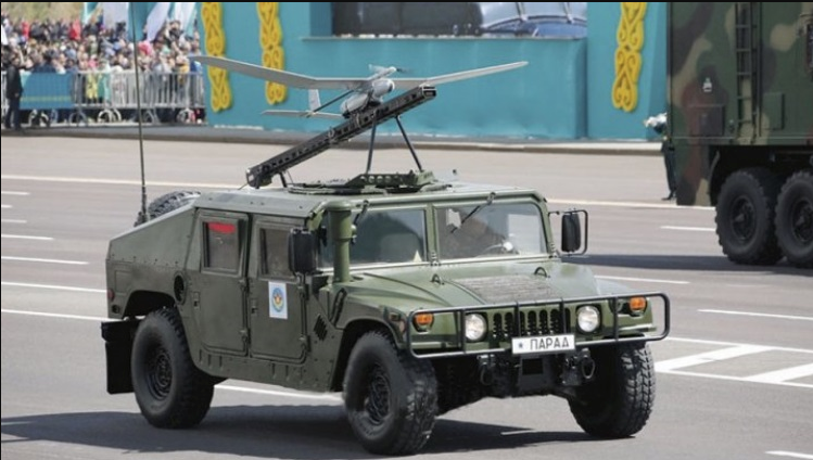 Although the majority of their weaponry is either former soviet or Russian manufacture, Kazakhstan has begun acquiring a lot of material - such as this U.S Humvee and drone from NATO countries