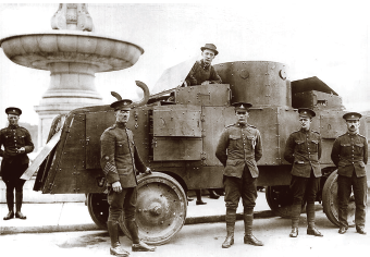 The Jeffery Armoured Car may have looked threatening during World War One, but it had its fair share of faults. Although equipped with four-wheel drive, the solid, narrow tires didn't provide a lot of traction in rough or muddy terrain. As for firepower, it was armed with only one machine gun, operated under less then ideal conditions with very limited situational awareness. Nevertheless, these early versions of armoured cars proved their worth, performing everything from yeoman's work to dangerous recovery missions. (toronto city archives)