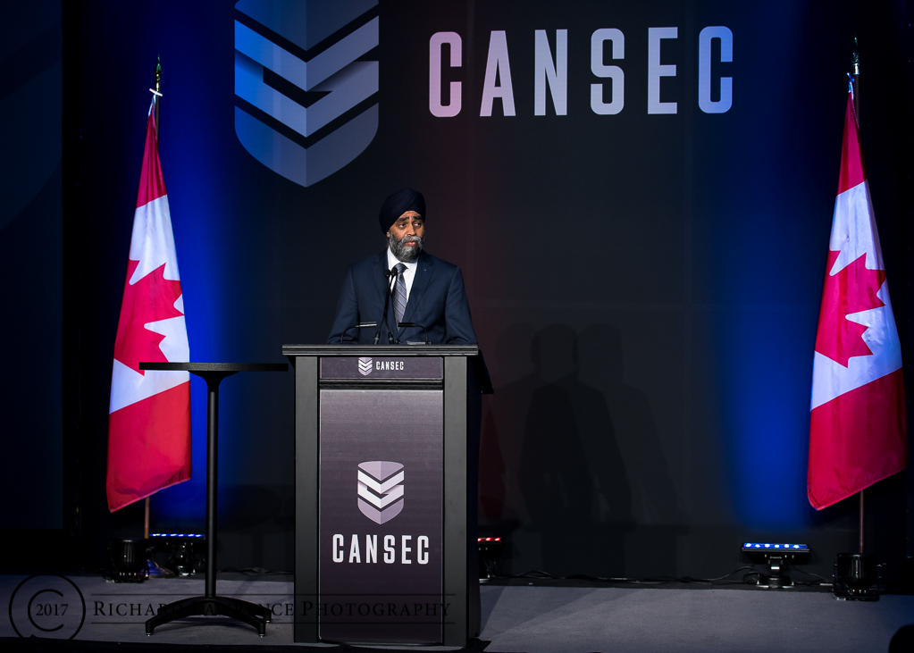 Defence Minister Harjit Sajjan used his keynote speech on the first day of CANSEC 2017 to denounce Boeing for prompting a U.S. government trade investigation into Canada's largest aerospace firm, Bombardier. (Richard lawrence)