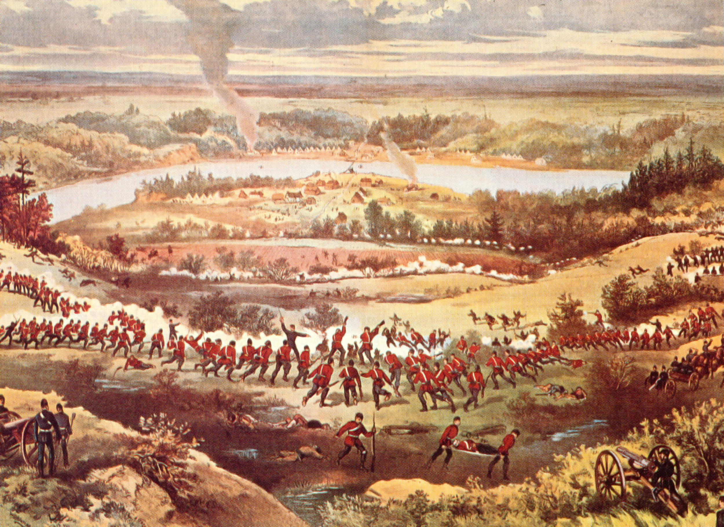 "The growing discontentment of the Indigenous peoples of Saskatchewan led to the North-West Rebellion, which ended with the Siege of Batoche. This three-day battle saw fewer than 300 Métis and First Nations people, led by Louis Riel and Gabriel Dumont, take on the 800-strong North West Field Force, commanded by MGen Frederick Middleton. On May 12, 1885, frustrated by two days of indecisive skirmishing, the militia battalions stormed the Métis position without orders, bringing the rebellion to a close. (""battle of batoche"" based on sketches by sergeant grundy and others, toronto)"