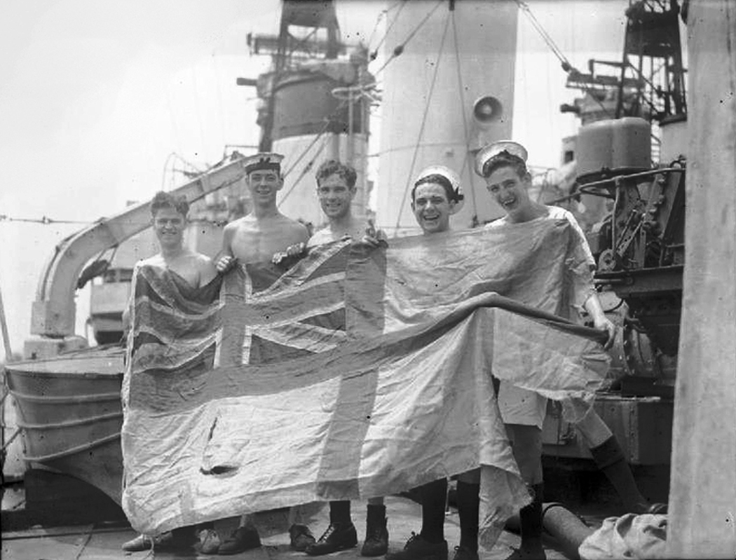 A proud souvenir: the torn Battle Ensign of HMS  Tartar  (F43) carried in her action with German destroyers in the Channel on June 8, 1944. It was in this action at Barfleur that a German destroyer  ZH-1  was torpedoed and sunk by the destroyers  Tartar  and  Ashanti  and the former was hit on the bridge by three 120mm shells. (imperial war museum, no.   4700-01  )
