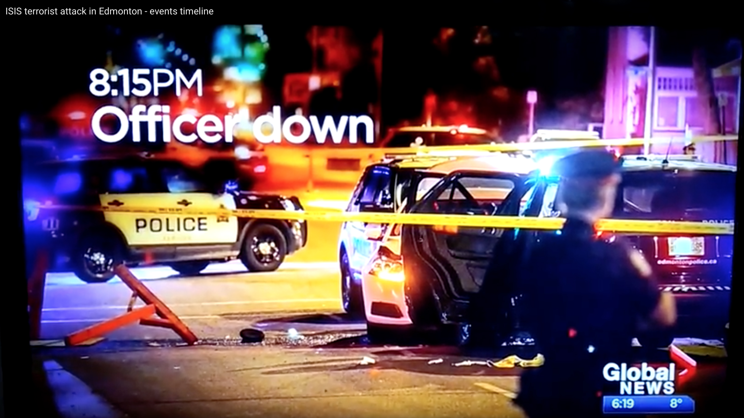 ": A screen shot from Global News coverage following the stabbing of an Edmonton police officer. The accused, a Somali refugee, could also face terrorism-related charges after the vehicle he was driving plowed through pedestrians following a high-speed police chase. But labelling every senseless act of mass violence as ""terrorism"" makes it far more difficult to address the root causes."