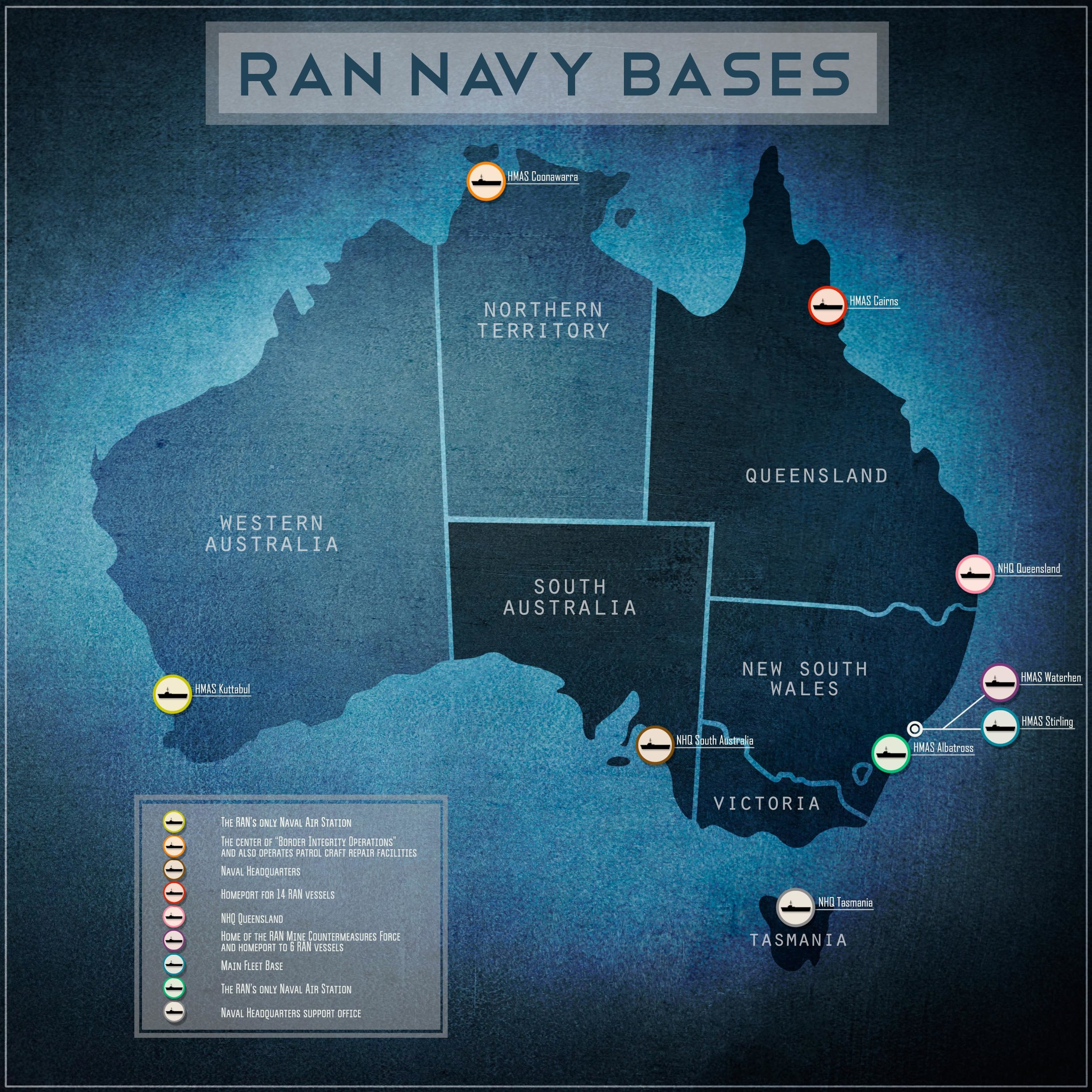 "The Royal Australian Navy operates out of two main naval bases, Fleet Base East (in Sydney) and Fleet Base West (in Perth). Since 1987, as part of the country's White Paper, the RAN has operated a ""Two Ocean"" naval plan, permitting the navy to patrol both the Pacific and Indian Oceans on a continuous and committed basis. (globalresearch.org)"