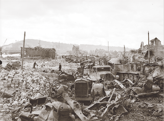 As the Germans tried to escape across the Seine, 2 nd Tactical Air Force strikes destroyed thousands of vehicles and killed or wounded many of the soldiers aboard them. (donald i. grant, pa–  141883  )