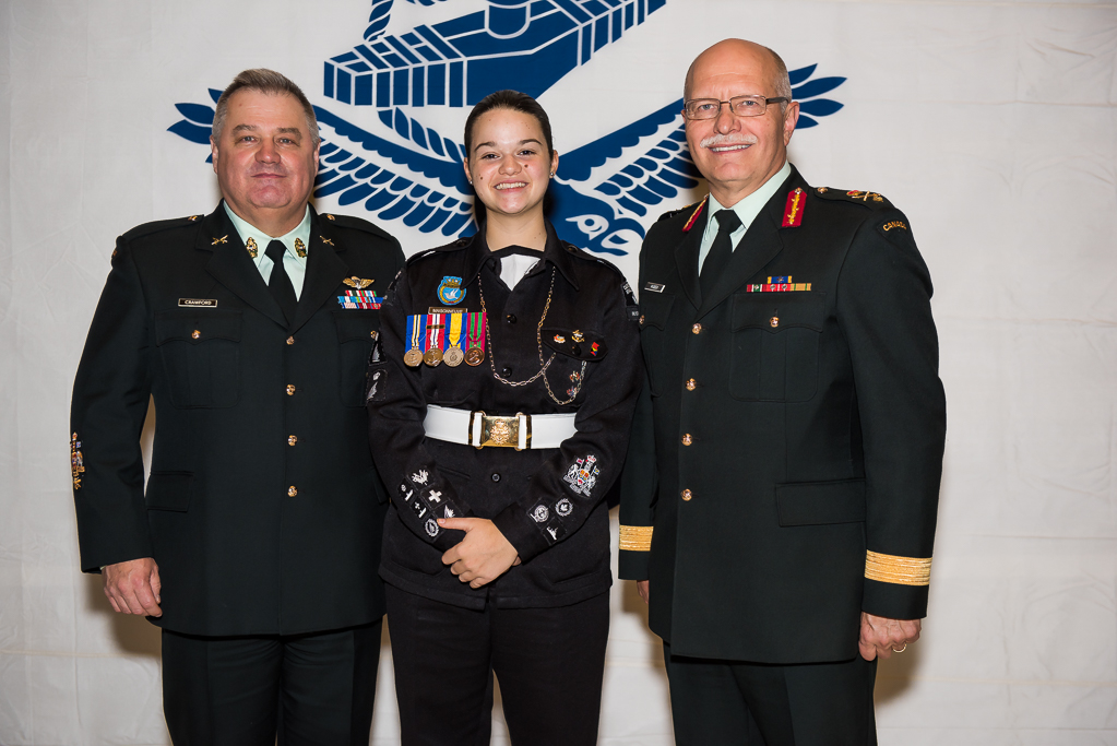 CWO Bill Crawford (left), CPO 1 Maude Maisonneuve, and BGen Kelly Woiden after the official presentation of the Sea Cadet Centennial Pin (inset, top right) during the Navy and Coast Guard Day reception on November 21, 2017. (richard lawrence)