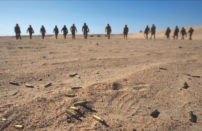 Members of the Military Police and the Area Security Force move forward to check their targets after a round of shooting at the weapons range during Operation IMPACT on March 4, 2015. With the CAF's 'advise and assist' role in Iraq suspended, some 200 of our elite forces are sitting idle on the edge of a civil war, without a clearly defined role. (operation impact, dnd)