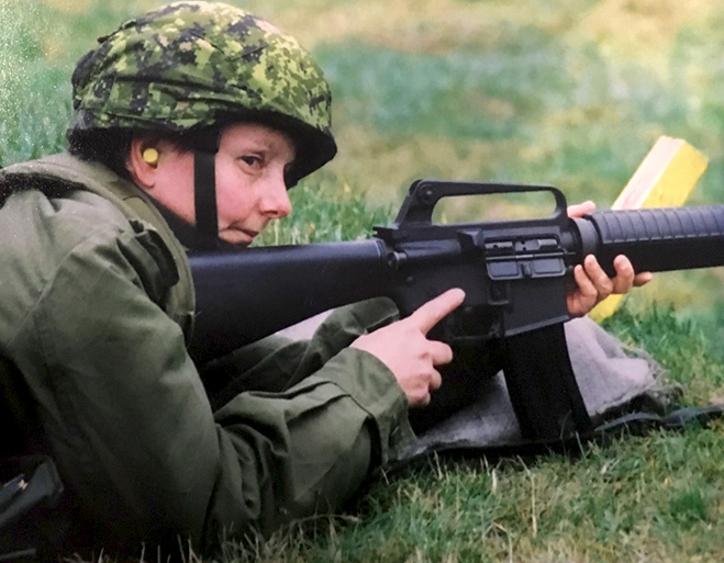Sergeant Cheryl Crispin (then a Private) practices with her service rifle as part of her Basic Military Qualification course in Esquimalt, British Columbia in 2004. All soldiers are required to complete BMQ, regardless of their trade. Photo: provided by Sergeant Cheryl Crispin, National Defence Quality Assurance Region (Vancouver).