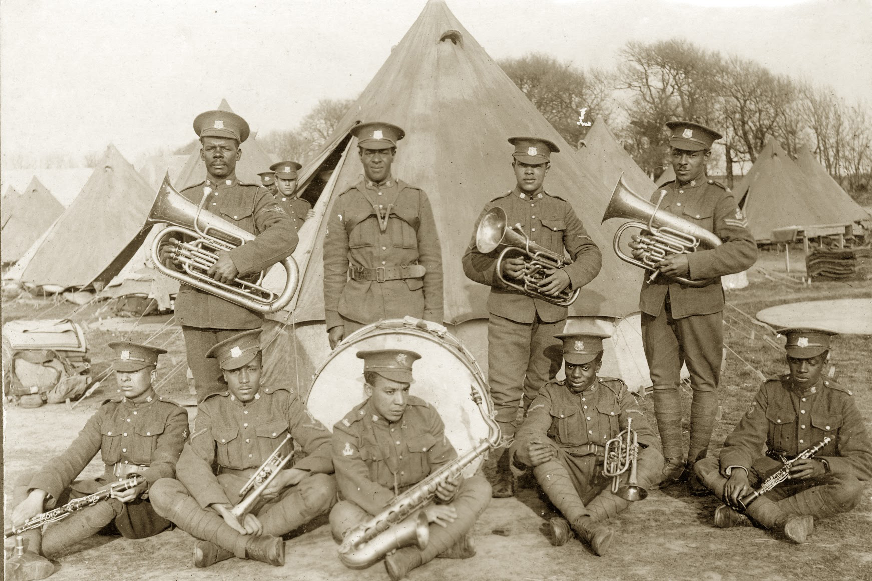 "The No. 2 Construction Company Band was initially used to help recruit African Canadians at rallies and churches. Overseas, the band was highly regarded, even receiving an entry in the War Diary for Dominion Day 1918: ""their excellent music, greatly assisted in entertaining the crowd and making the holiday a success."" (black cultural centre for nova scotia)"