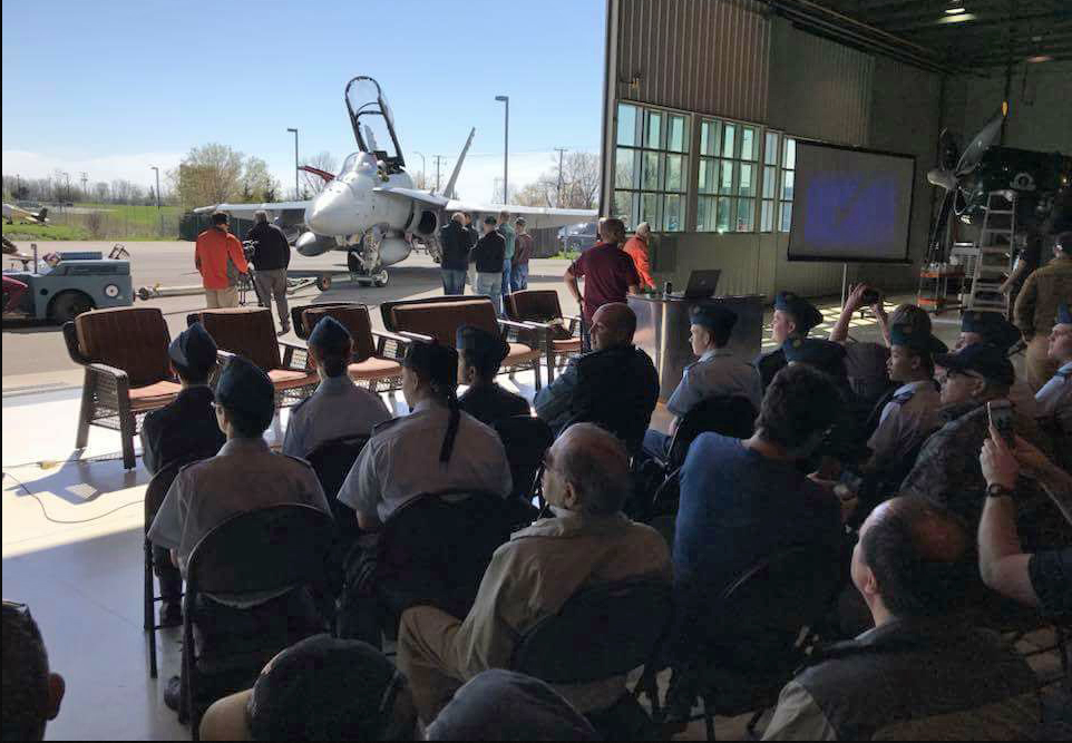 """As part of RAF100 celebrations, approximately 15 Royal Canadian Air Cadets attended the """"CF-18 Warbird U"""" at Vintage Wings of Canada in May 2018. PHOTO: Vintage Wings of Canada website"""