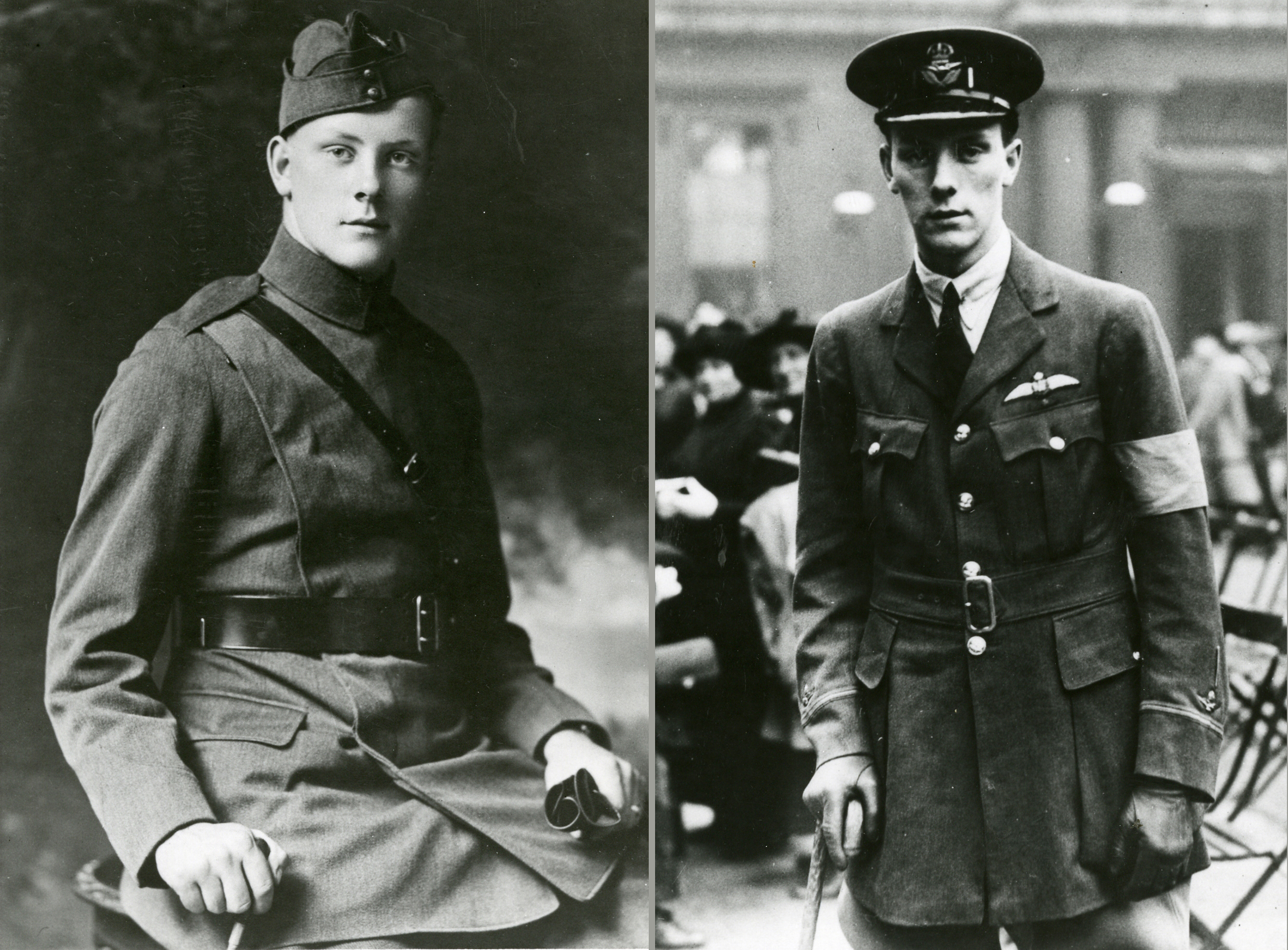ABOVE LEFT: Alan Arnett McLeod at the time of qualifying as a pilot and a commissioned Temporary Second Lieutenant at age 18 in 1917. (imperial war museum, q67601)  ABOVE RIGHT: McLeod presents a more wan appearance when he arrives at Buckingham Palace to receive the VC on September 4, 1918. He proved too weak to accept a luncheon invitation with King George V at Windsor Castle afterward and was soon on his way home. (rcaf)