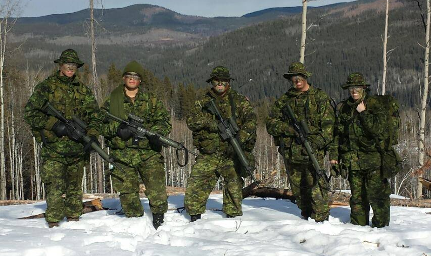 Corporal Scott Sargent (far left) training with fellow members of the Calgary Highlanders. Cpl Sargent joined the Canadian Army Reserve at age 40 in 2015, inspired in part by his grandfather's service in the Second World War. Photo: Provided by Corporal Scott Sargent.