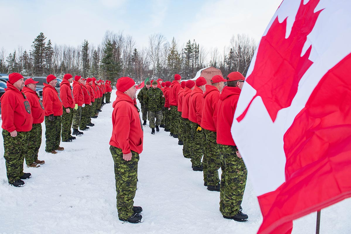 The members of two newly formed Canadian Ranger patrols, the Humber Patrol and the Northern Straits Patrol, will serve western Newfoundland. They came together in the community of Deer Lake, Newfoundland and Labrador for several days of training in November 2018. Photo: Jay Rankin, Army Public Affairs. ©2018 DND/MDN Canada.