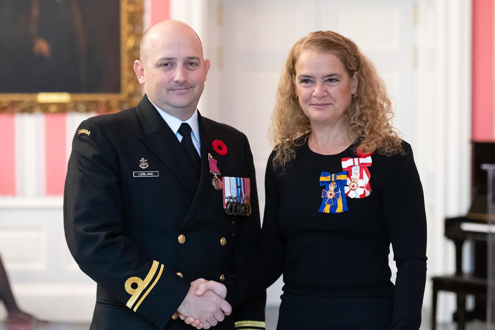 Sub-Lieutenant David LeBlanc received the Medal of Bravery on November 5th, 2018 at Rideau Hall in Ottawa.