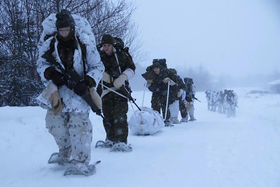 Soldiers from the 2nd Battalion, The Royal Newfoundland Regiment's Arctic Response Company Group conduct a winter patrol during Exercise SIBERIAN HUSKY 2019, held February 1 to 3, 2019 near Stephenville, Newfoundland and Labrador. Photo: Captain Ian McIntyre, 37 Canadian Brigade Group Public Affairs. ©2019 DND/MDN Canada.