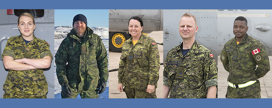 More than 30 Royal Canadian Air Force air maintenance technicians will compete in the annual Aerospace Maintenance Competition to be held in Atlanta, Georgia from April 8 to 11, 2019, including (from left) Master Corporal Leslie Blair from 12 Wing Greenwood, Corporal Ian Hauser from 19 Wing Comox, Master Corporal Beverly Madge from 4 Wing Cold Lake, Warrant Officer Darryl Poole from 4 Wing, and Corporal Kevin Richmond from 4 Wing. PHOTOS: DND