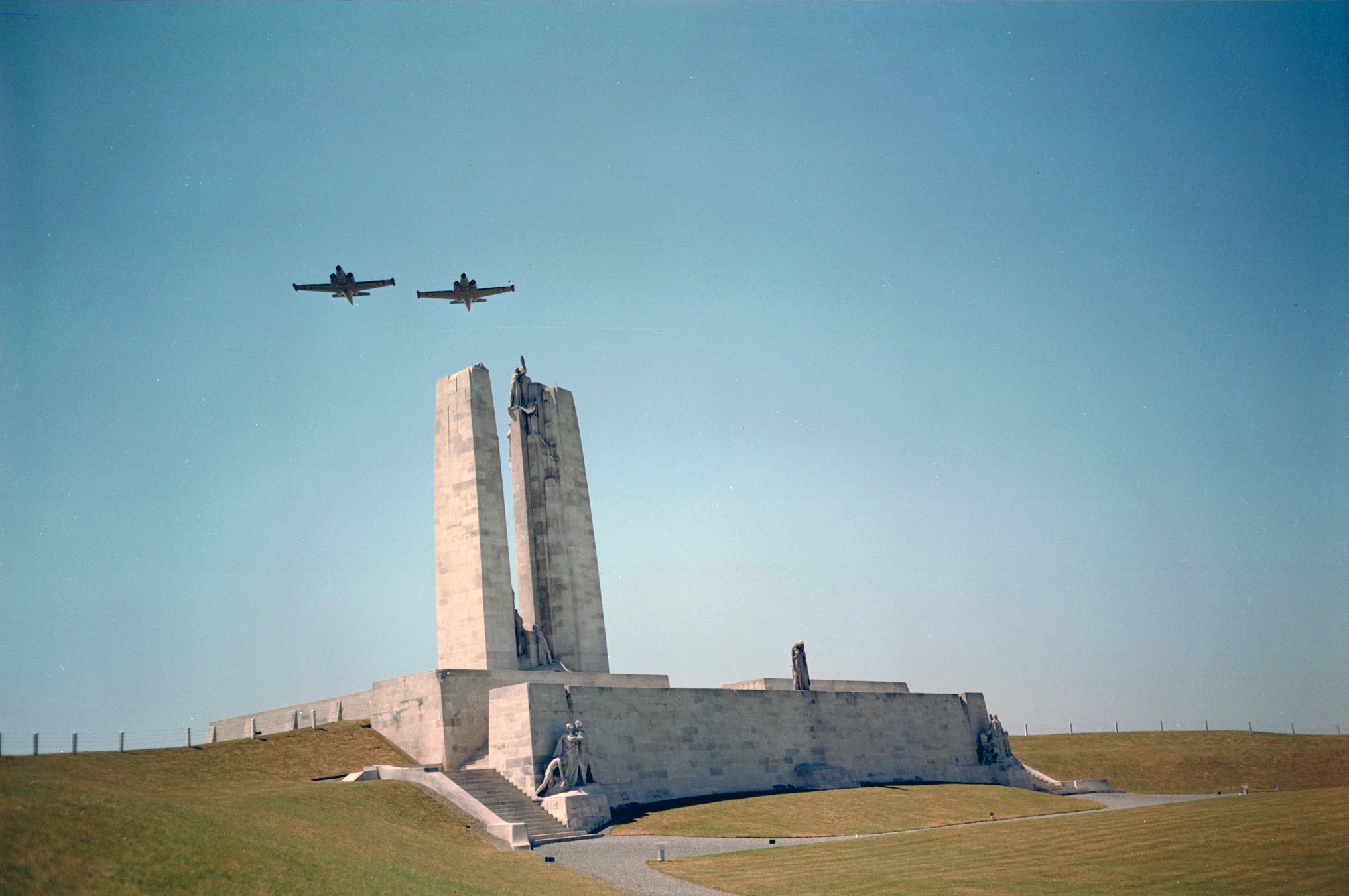 The Royal Flying Corps, which included many Canadian flyers, carried out aerial reconnaissance and photography of enemy positions leading up to the Battle of Vimy Ridge and provided artillery spotting before and during the battle. Several Canadian airmen were killed in the days before and after the battle. In this undated file photo, CF-100 Canucks fly over the Canadian War Memorial at Vimy Ridge in France. PHOTO: DND Archives,PCN-1392