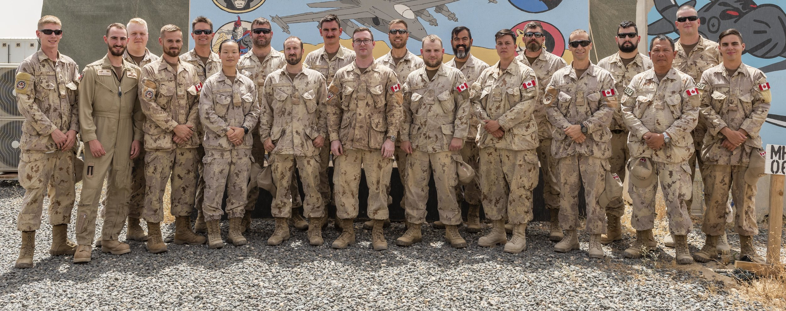 4 Wing Cold Lake, Alberta, personnel on Operation Impact at Camp Canada in Kuwait stand for a group photo on May 13, 2019. PHOTO: Master Corporal Bryan Carter, KW11-2019-0091-001