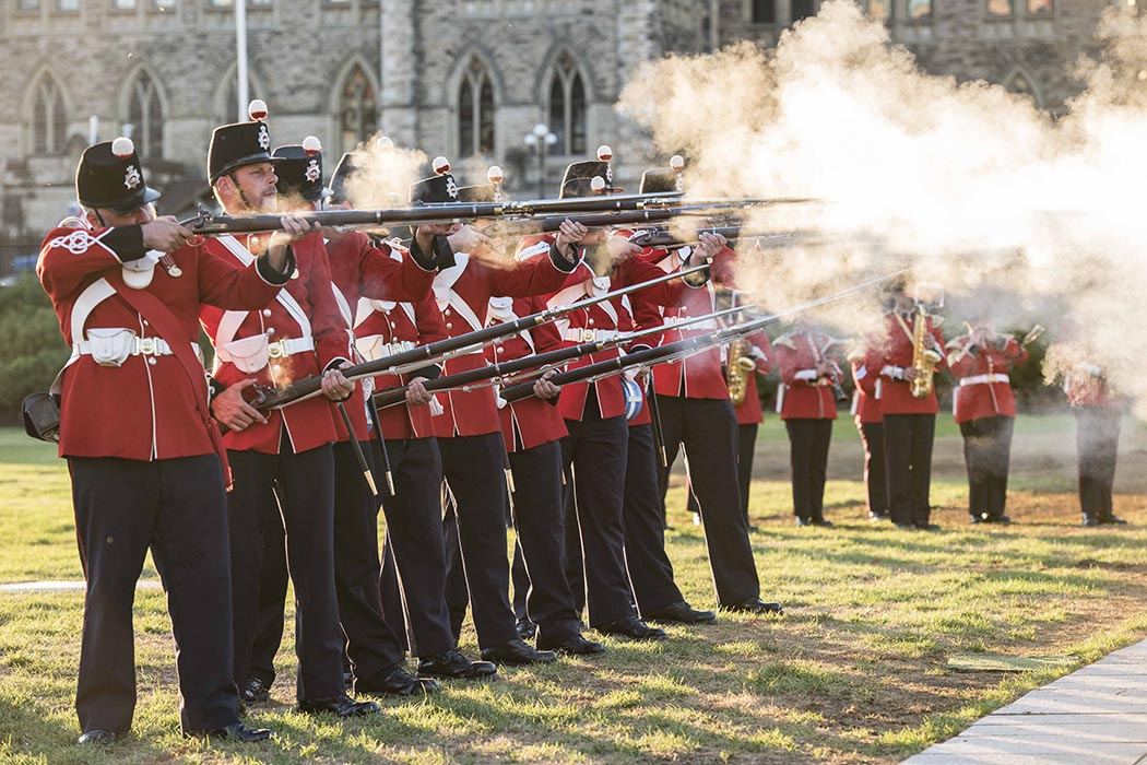 The Royal Hamilton Light Infantry Ceremonial (Wentworth Regiment) 13th Battalion Ceremonial Guard performs shooting drills as a part of the annual Fortissimo event on Parliament Hill in Ottawa, Ontario on July 19, 2018. Photo: Ordinary Seaman Camden Scott, Army Public Affairs. ©2018 DND/MDN Canada.