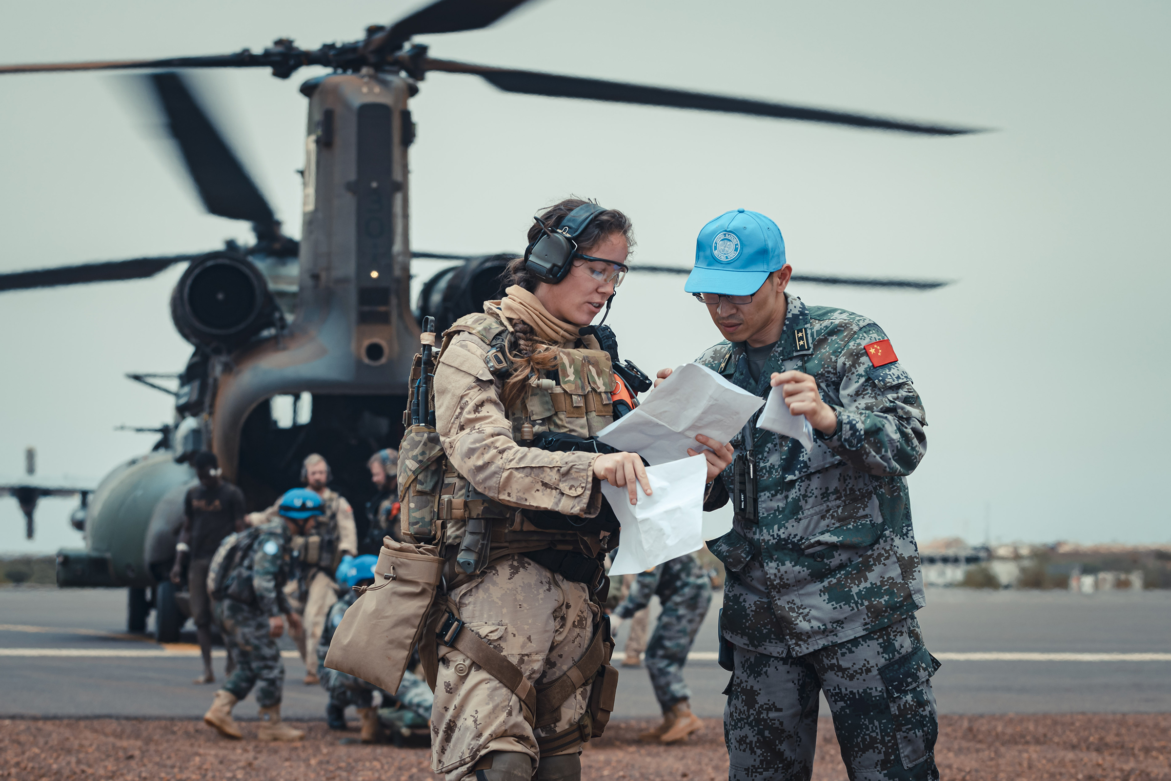Members of Operation Presence-Mali conducted their eleventh aeromedical evacuation mission, treating two civilian contractors involved in an IED attack before transferring the casualties to a MINUSMA Role 2 hospital in Gao, near Camp Castor on August 16, 2019. PHOTO: Corporal Richard Lessard, TM03-2019-0007-002