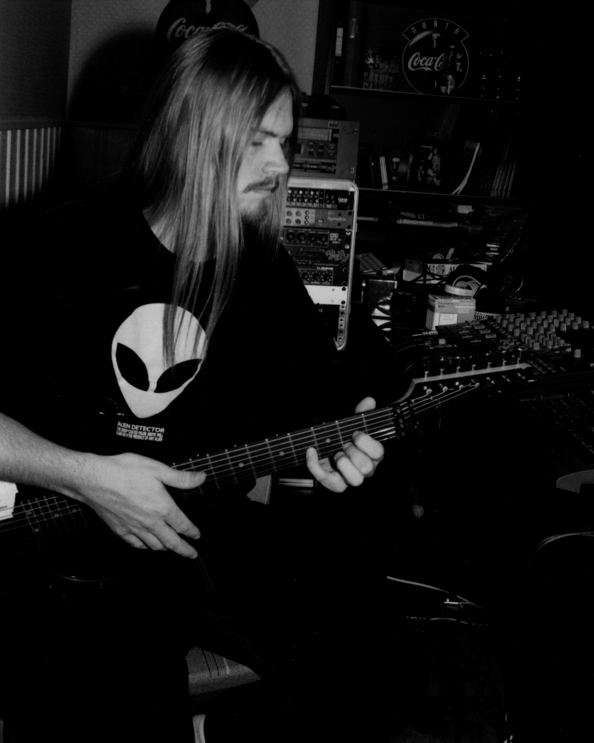 "Fredrik at the studio ""Area 51"" where he recorded all the guitars, bass and vocal parts for  Sol Niger Within,  and later also mixed the album."