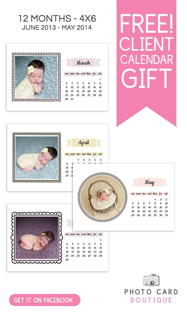 Free photographer client gift template - 4x6 calendar
