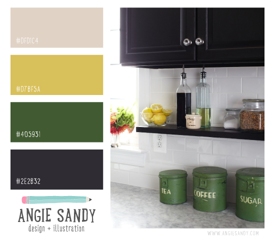 Taupe, yellow, green + Coal Color Scheme | Angie Sandy Design #colorpalette