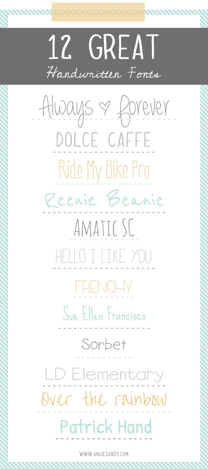 12 Handwritten Fonts | Angie Sandy Design + Illustration #fonts