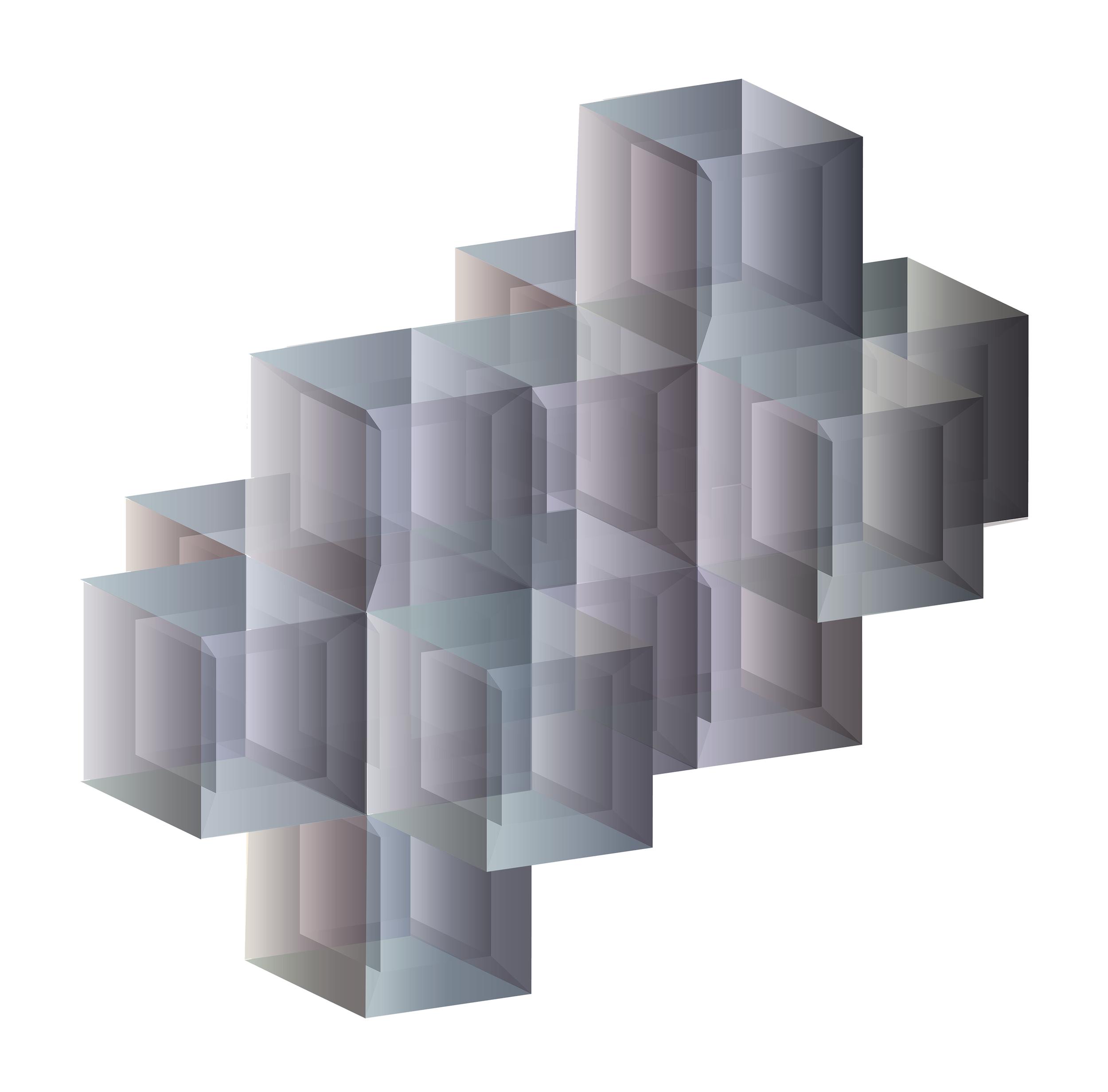 "Tessellating the Tesseract   2019, Inkjet Print  19"" x 27"" x1.5"""