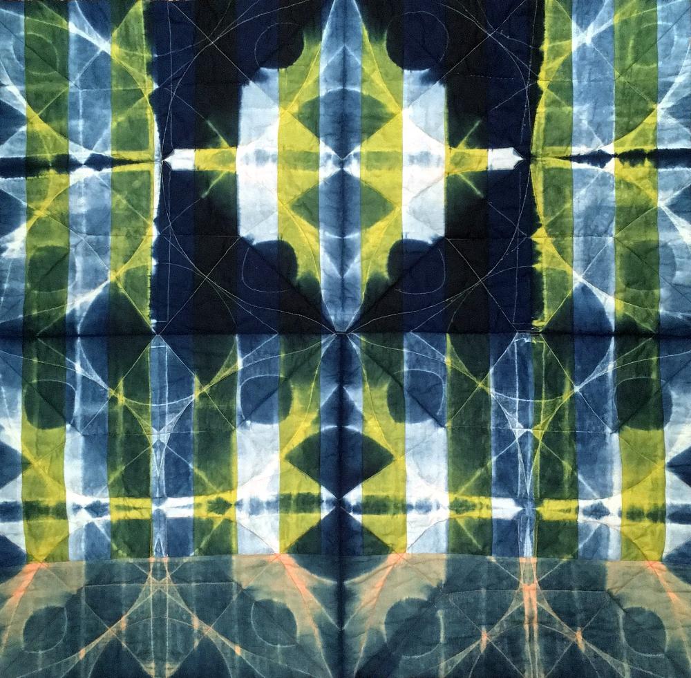 Pieced Indigo Shibori Wholecloth Quilt