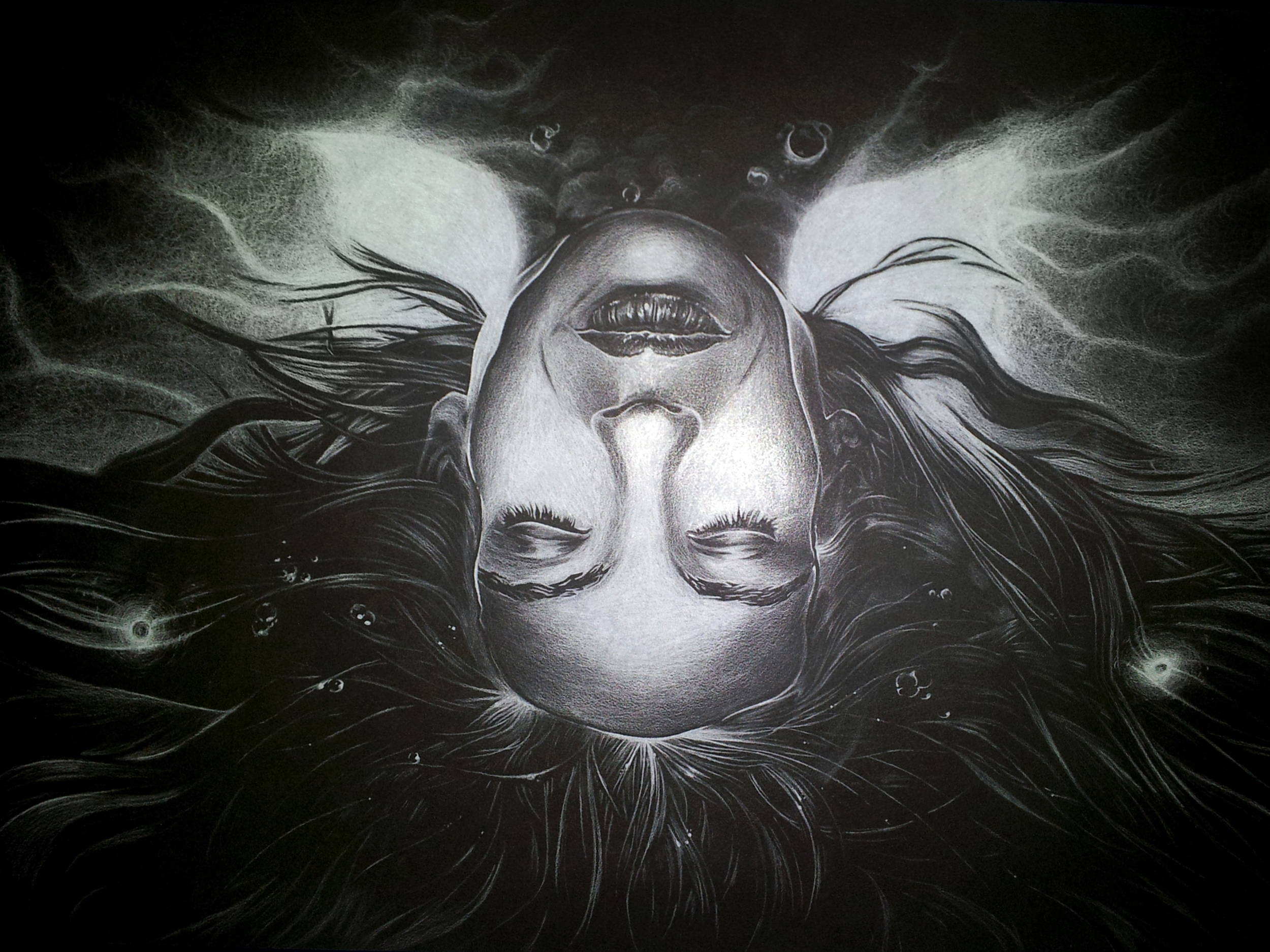 ...a white colored pencil drawing of Olivia Dunham from the series Fringe...