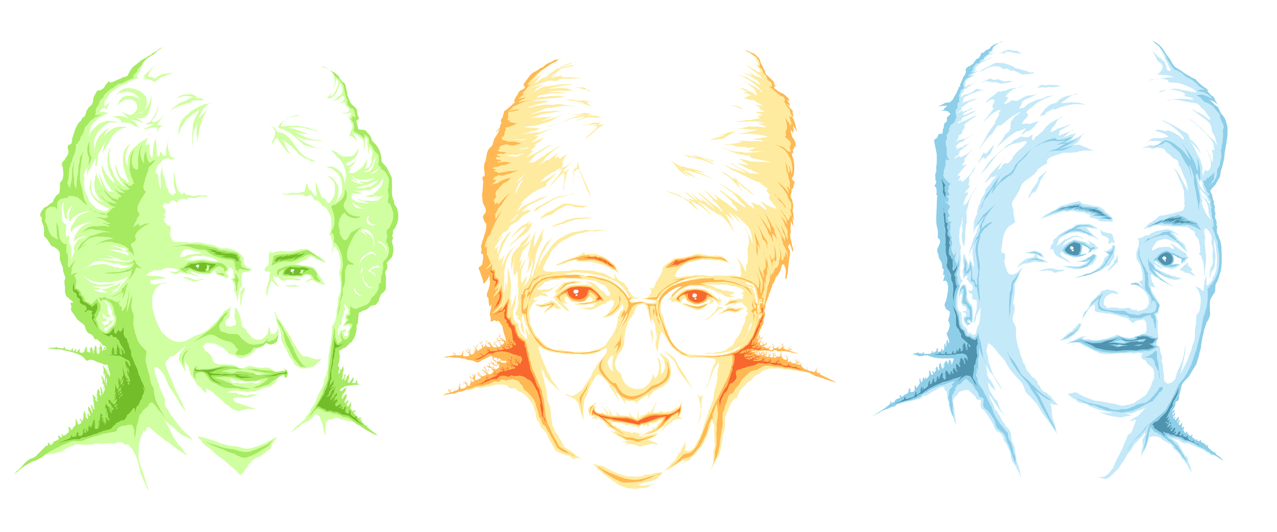 ...3 christmas portraits for 2013 of my grandmothers...