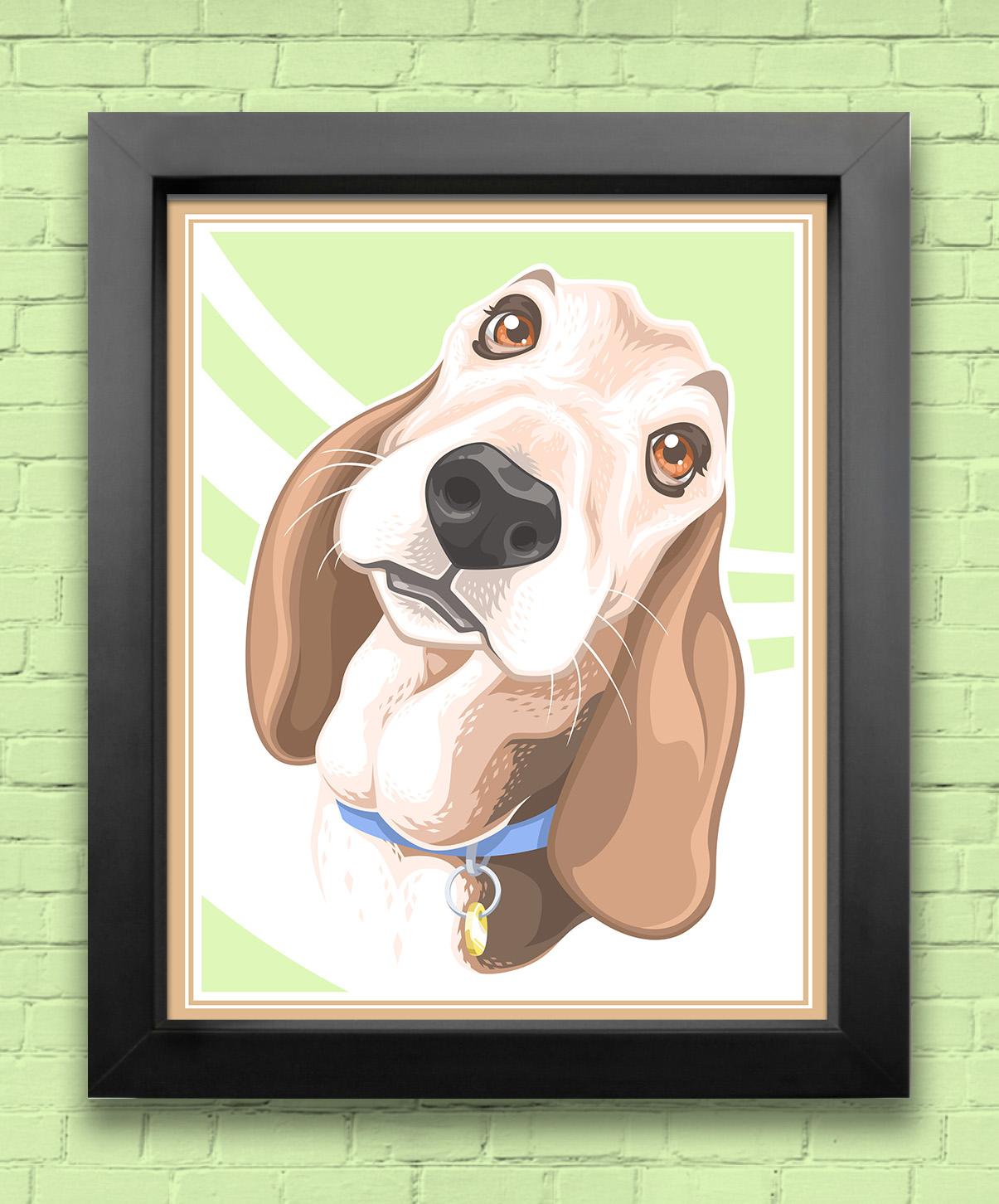 stylized pet portrait - Bella (framed)