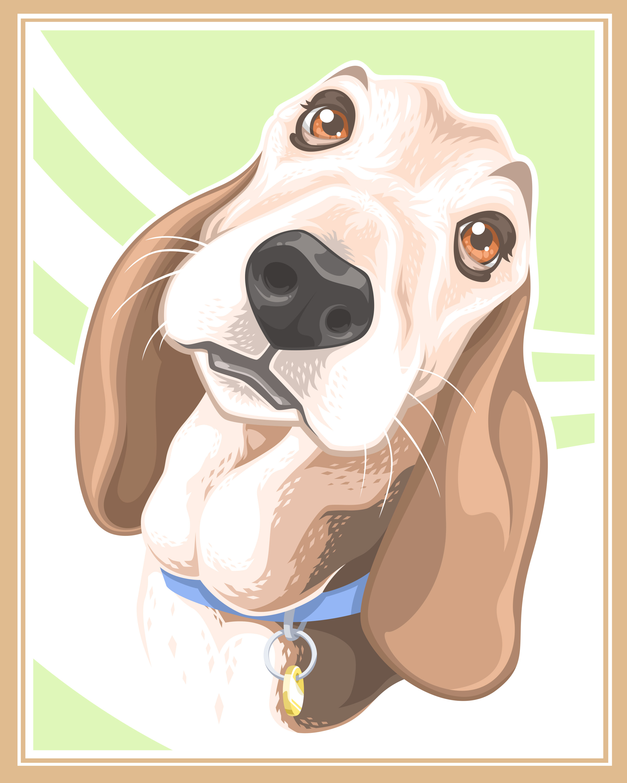 stylized pet portrait - Bella