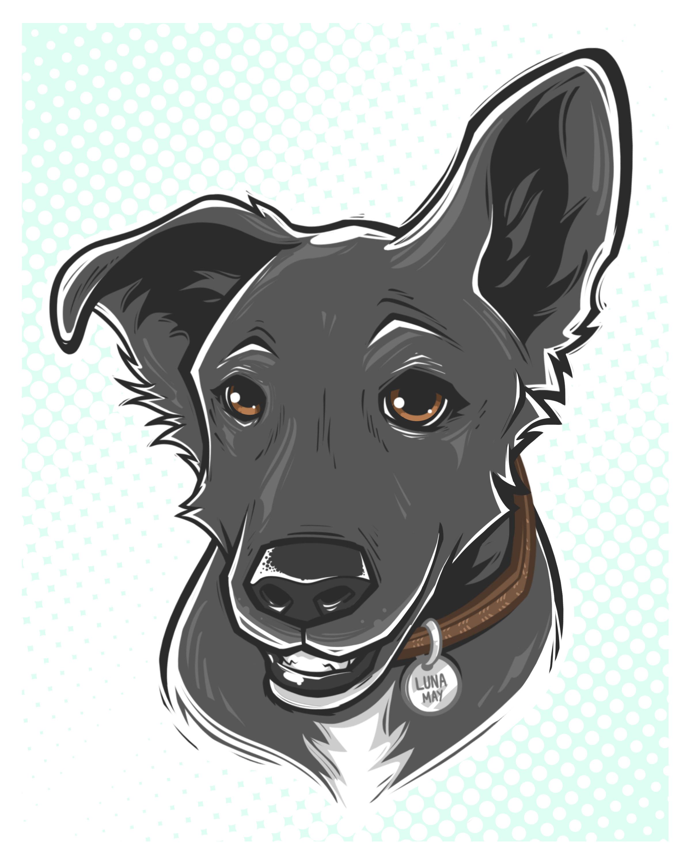 comique pet portrait - Luna May