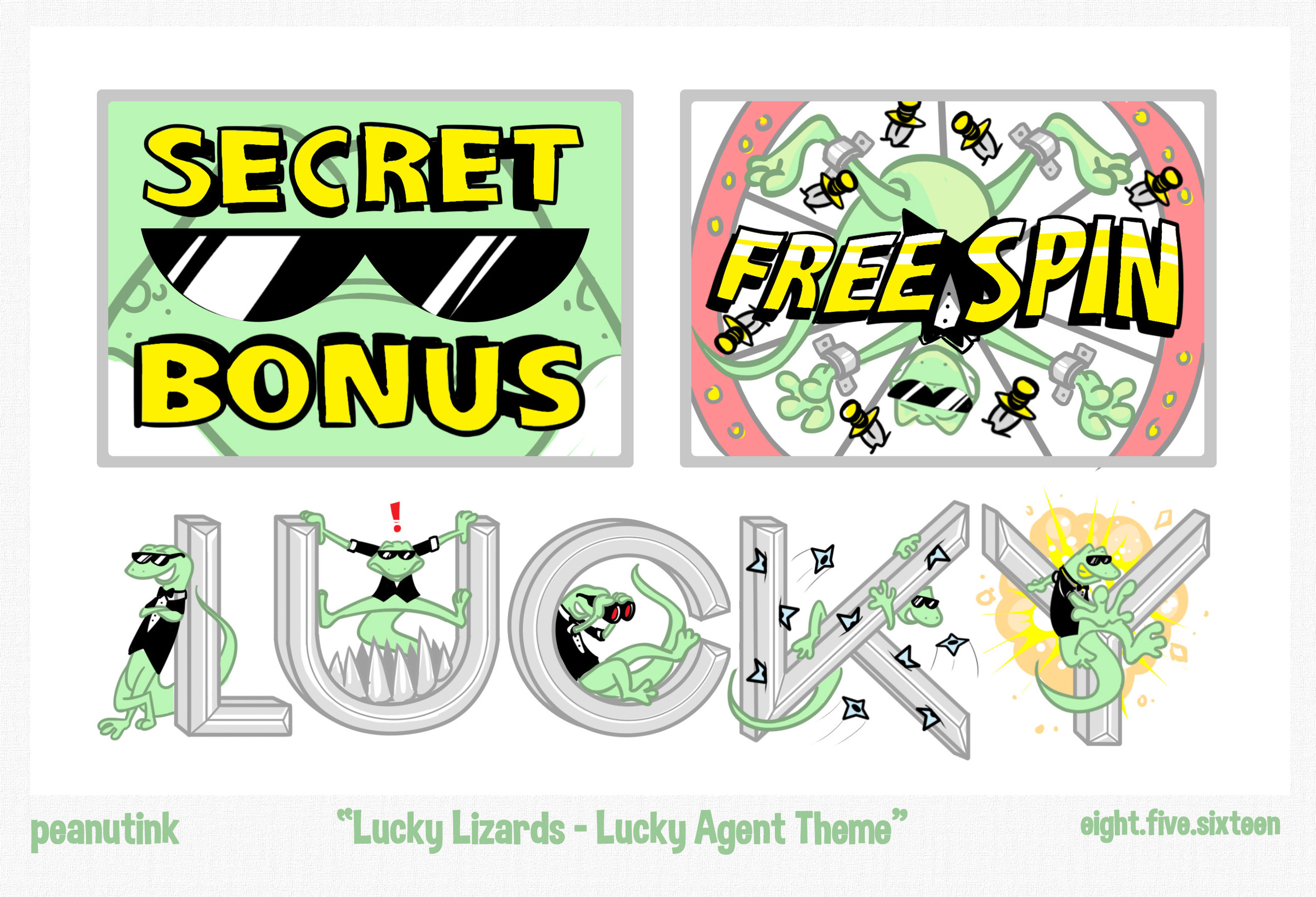 "..weekly ink #138 - ""Lucky Lizards - Lucky Agent Theme"".."