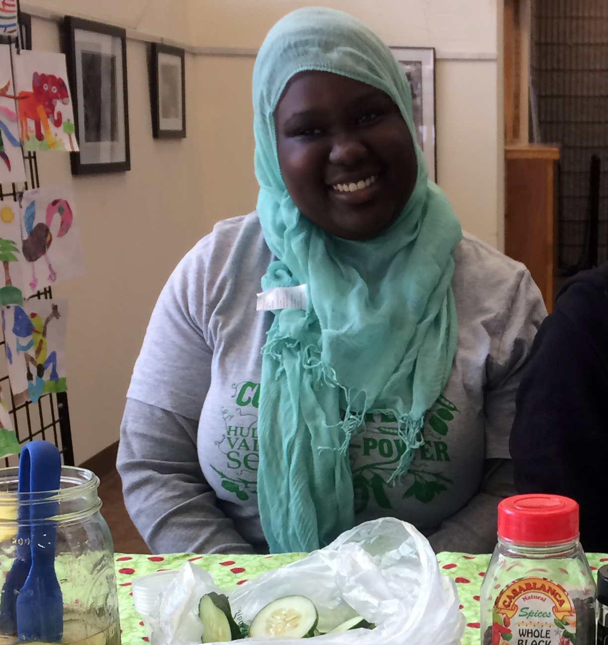 """Mariama Ceesay  is an 18 year old Green Teen """"next stepper"""" happily working for Hudson Valley Seed. She loves working with kids, helping people, and she even has a garden of her own of which she is very proud. Although she describes herself as """"very clumsy,"""" she works hard to make to make the world a better place. Throughout her senior year she volunteered frequently with the National Honor Society. Now that she has graduated Beacon High School, she is planning to major in biology, and is figuring out what to do with the rest of her life."""