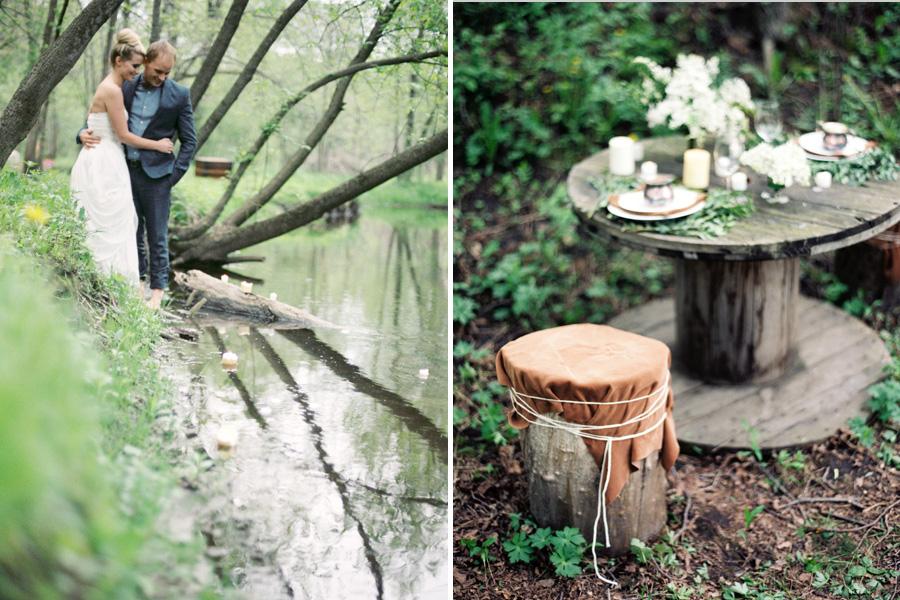 river wedding, organic forest wedding