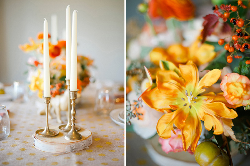 brass taper candle holders, orange and gold wedding, studio fleurette.jpg