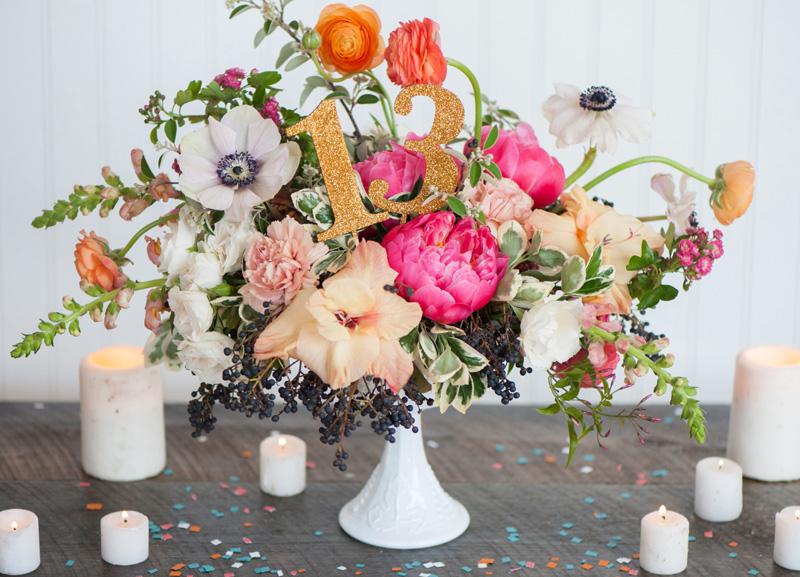 wedding table numbers, studio fleurette, st. paul mn