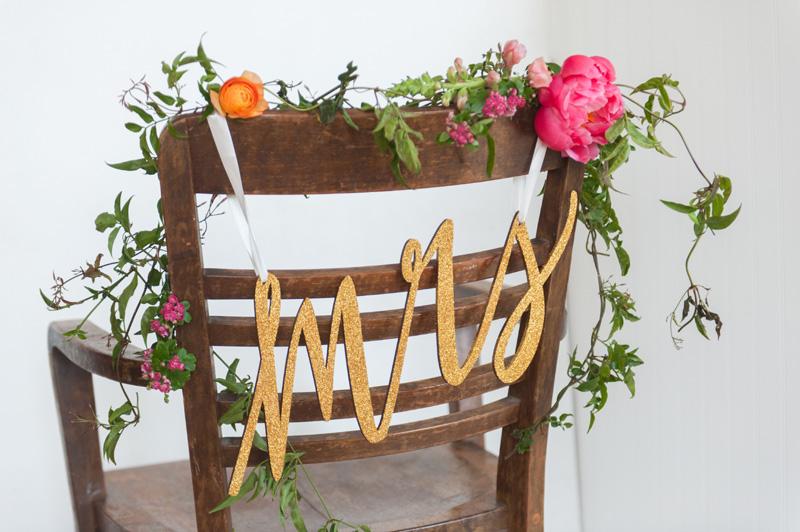wedding reception wood chairs, studio fleurette, wedding chair flowers