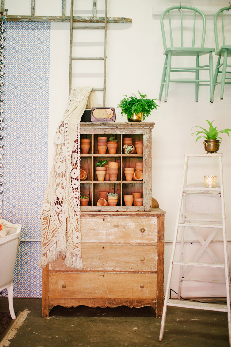 vintage wood hutch, studio fleurette, on solid ground rentals
