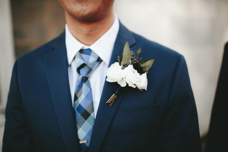 raunculus boutonniere, navy wedding suit, studio fleurette, minneapolis mn urban wedding.jpg