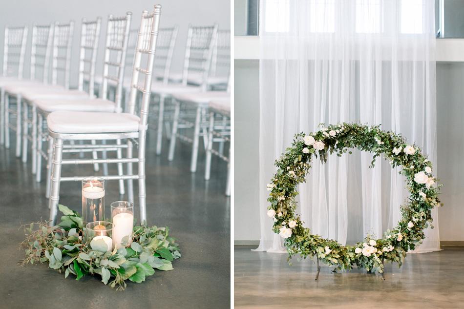 muse event center, studio fleurette, floral wreath backdrop