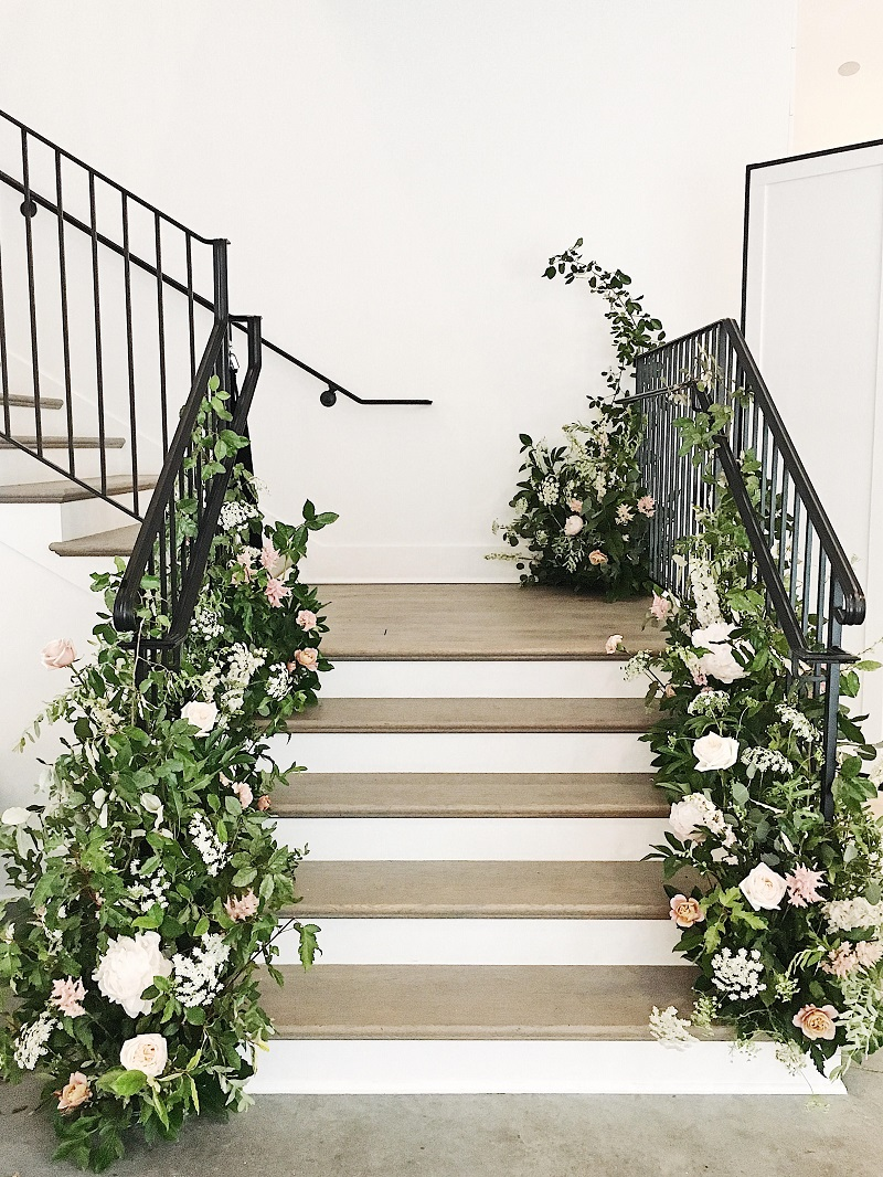 the hutton house, hutton house minneapolis minnesota, hutton house stairs, stair flowers, floral wedding ceremony backdrop, studio fleurette.jpg